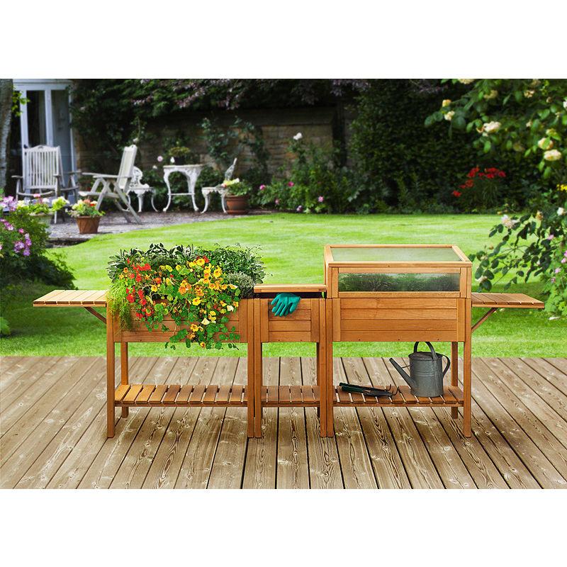 pflanztisch mit rollen f r erntefrische kr uter und gem se. Black Bedroom Furniture Sets. Home Design Ideas