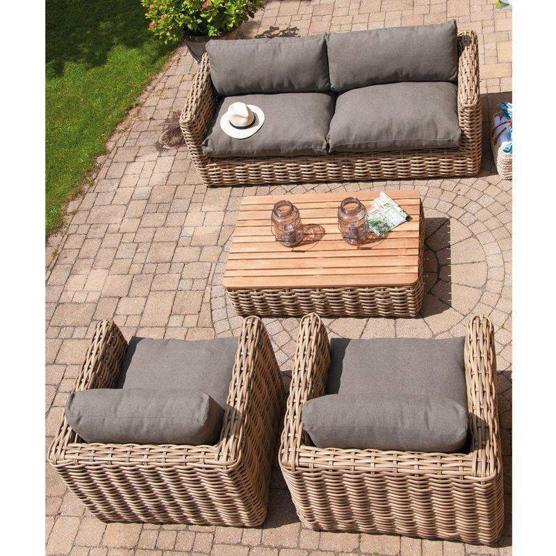 4tlg.-Set: Premium Lounge-Gartenmöbel aus wetterfestem Polyrattan-Geflecht