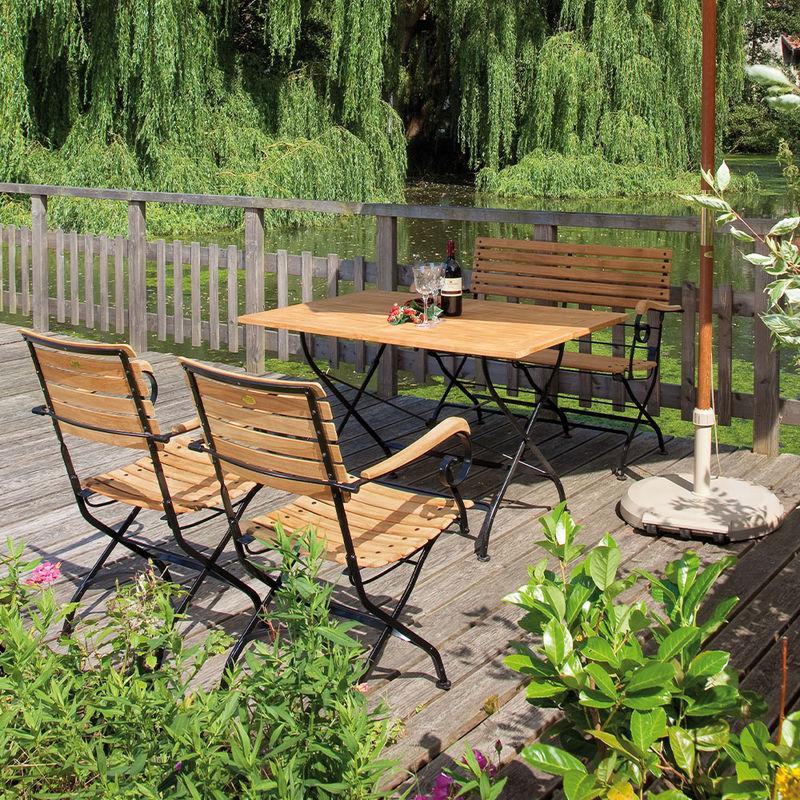 Set 3 Tisch 2 Stuhle Bank Klassisch Elegante Gartenmobel Serie Aus Eisen Und Teakholz Julia Grote Shop