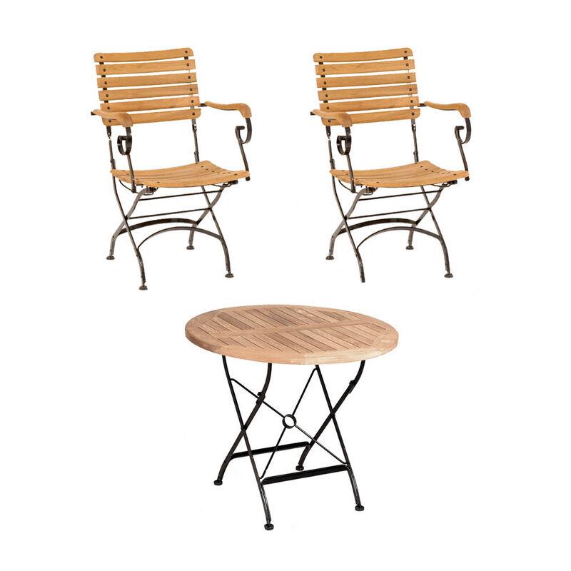 Set 1 Tisch 2 Stuhle Klassisch Elegante Gartenmobel Serie Aus