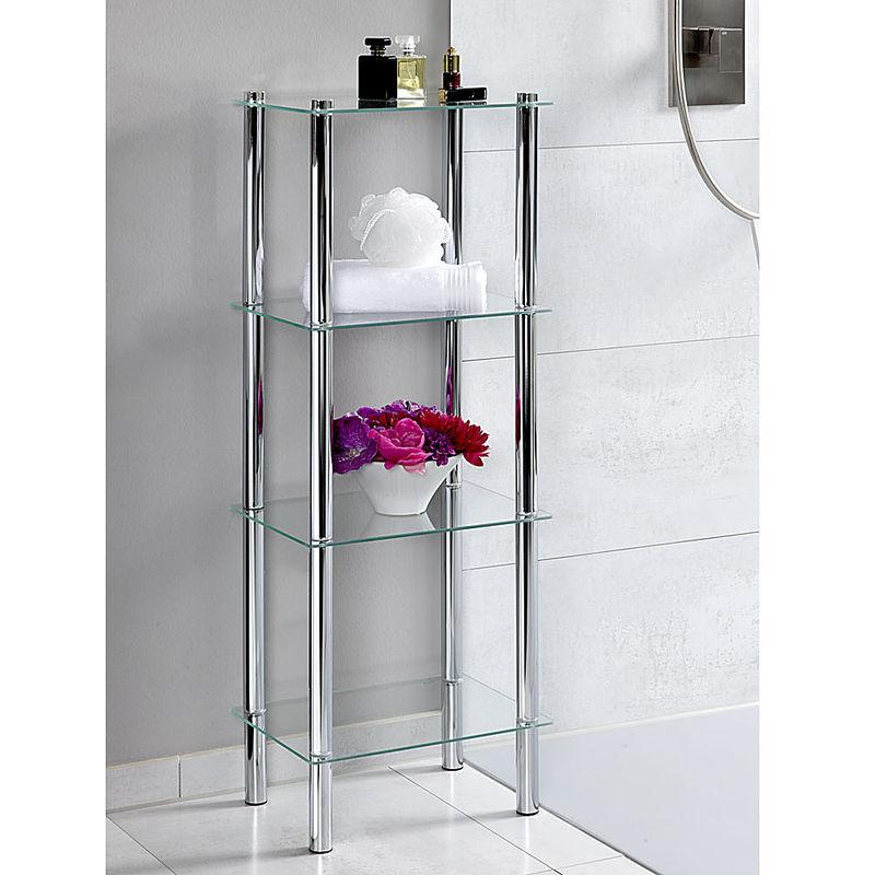 Elegantes Glasregal mit 4 Etagen sorgt für mehr Platz im Bad