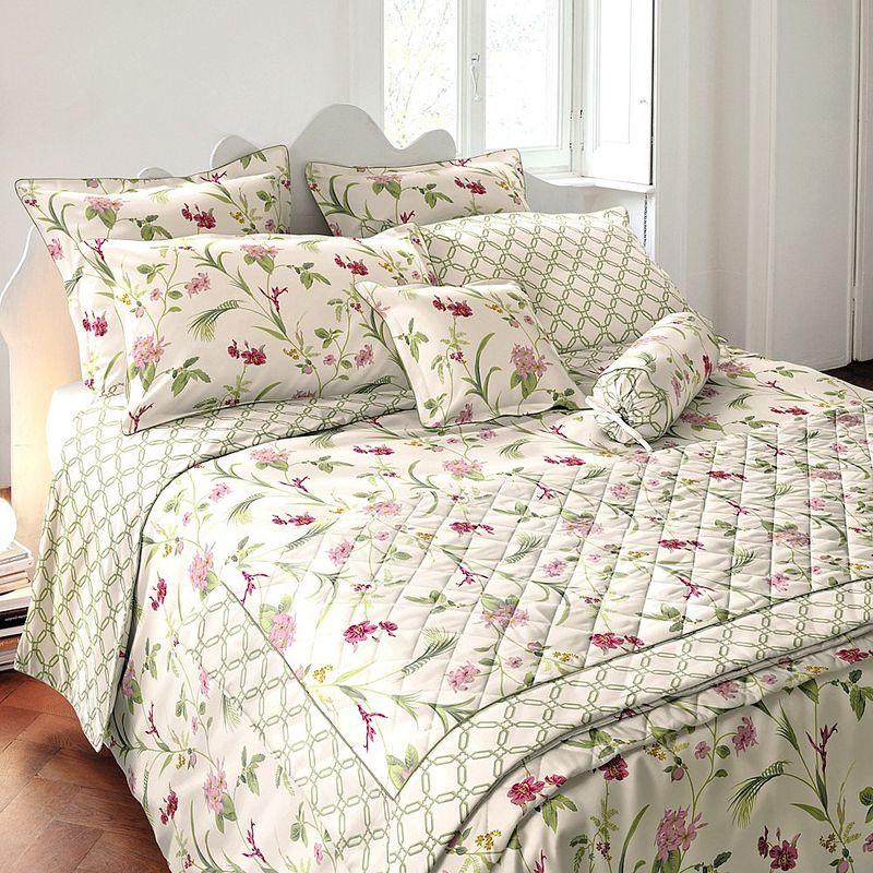 britischer landhaus stil satin bettw sche mit romantischen dekoren motiv orchid julia. Black Bedroom Furniture Sets. Home Design Ideas