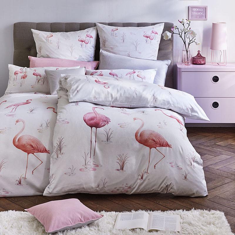 Bettwäsche Stylisher Flamingo Druck Auf Feinster Satin Qualität