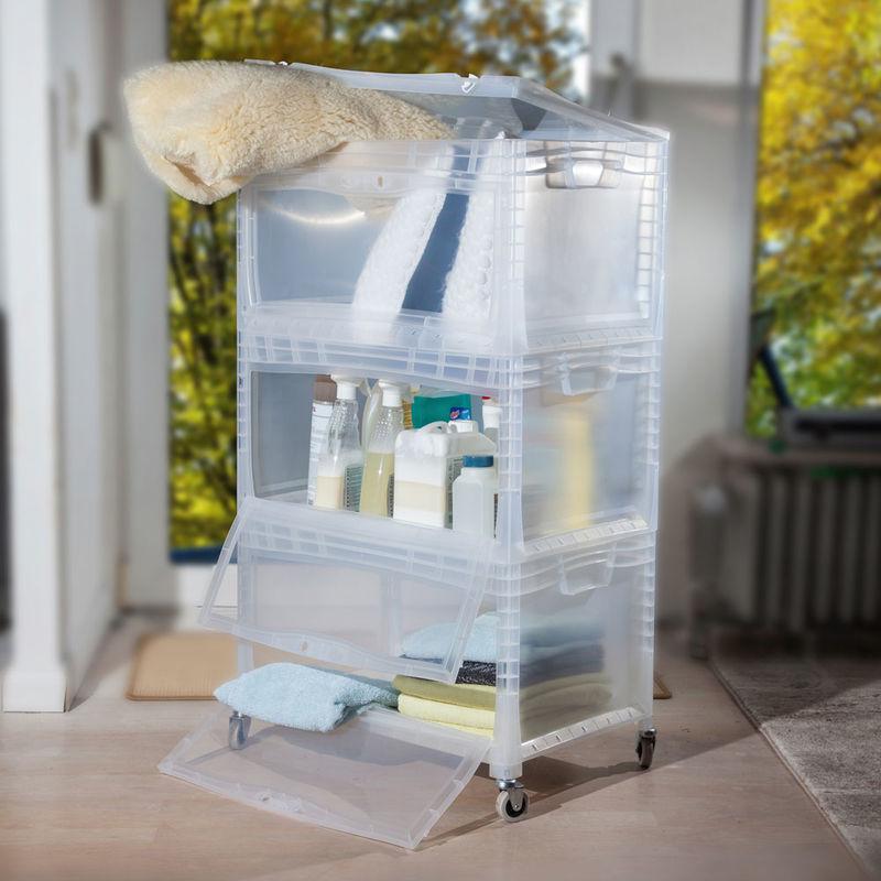 stapelbare kunststoffboxen auf rollen f r platzsparende aufbewahrung julia grote shop. Black Bedroom Furniture Sets. Home Design Ideas