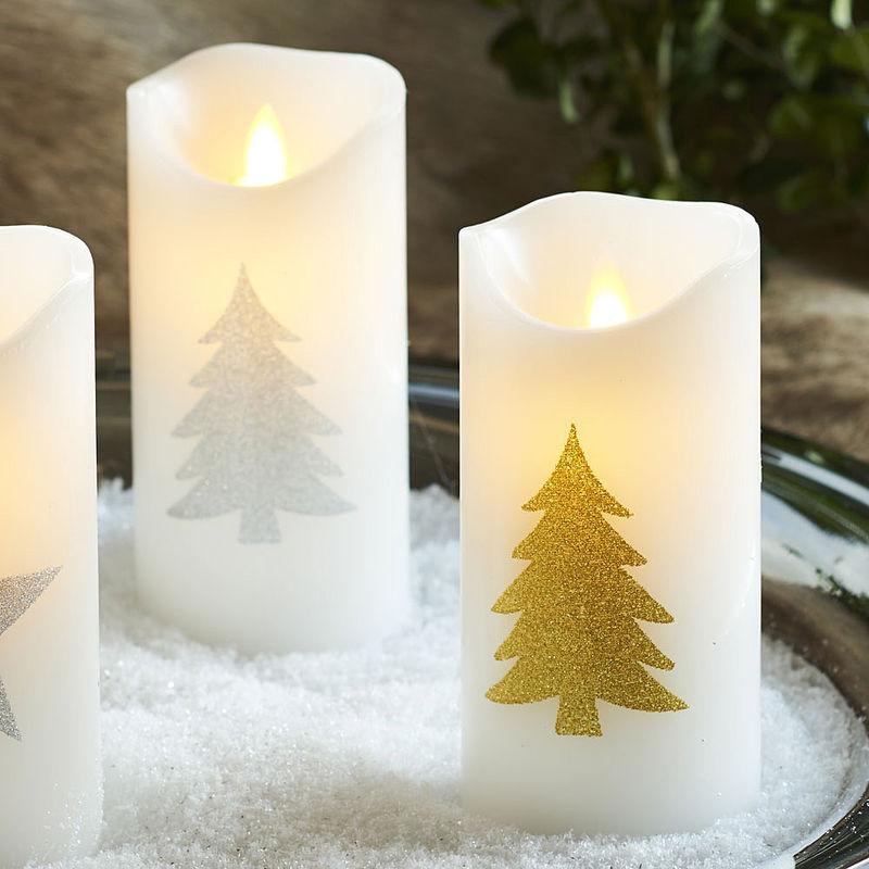 led kerzen mit tannenbaum motiv julia grote shop. Black Bedroom Furniture Sets. Home Design Ideas