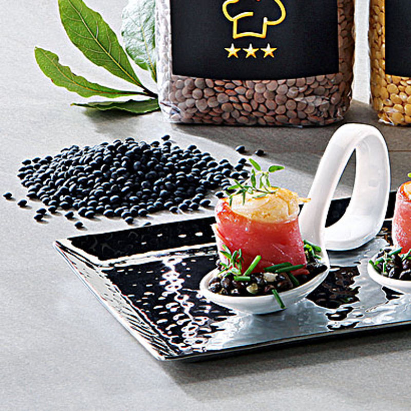 jakobsmuscheln auf beluga linsen salat rezept hagen grote shop. Black Bedroom Furniture Sets. Home Design Ideas