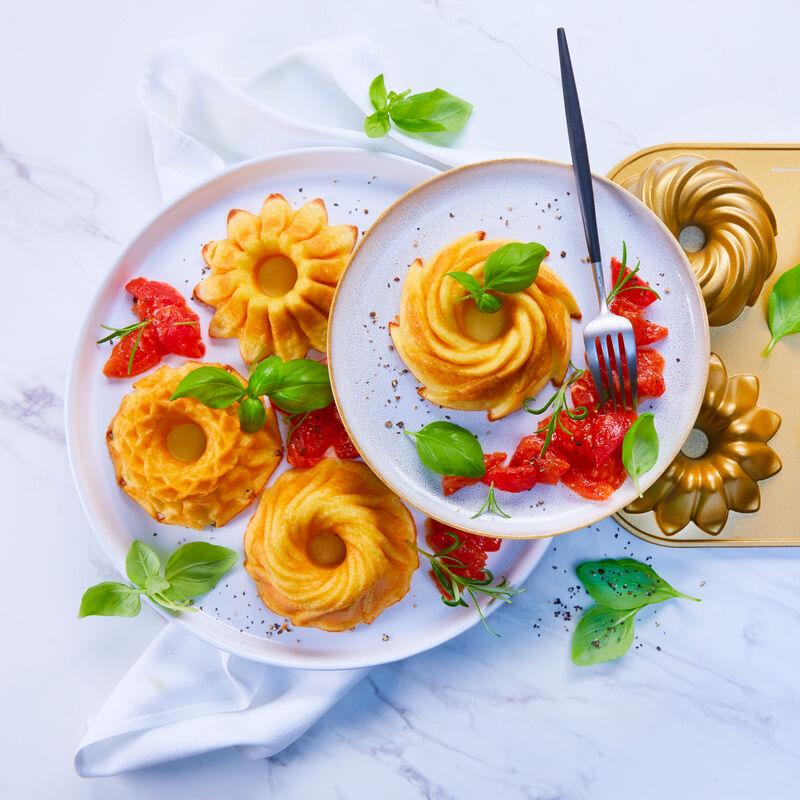 parmesan flan auf tomatenconcass rezept hagen grote shop. Black Bedroom Furniture Sets. Home Design Ideas