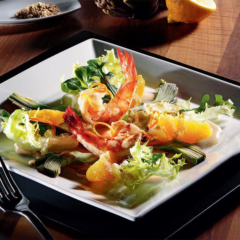 garnelen auf artischocken orangen salat rezept hagen grote shop. Black Bedroom Furniture Sets. Home Design Ideas