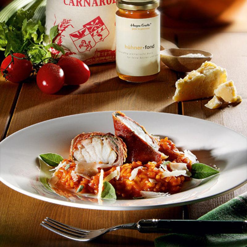 zander medaillons in parmaschinken mit san marzano tomaten risotto rezept hagen grote shop. Black Bedroom Furniture Sets. Home Design Ideas