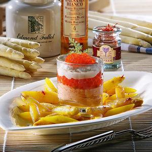 kaviar fischmousse auf safran spargelsalat rezept hagen grote shop. Black Bedroom Furniture Sets. Home Design Ideas