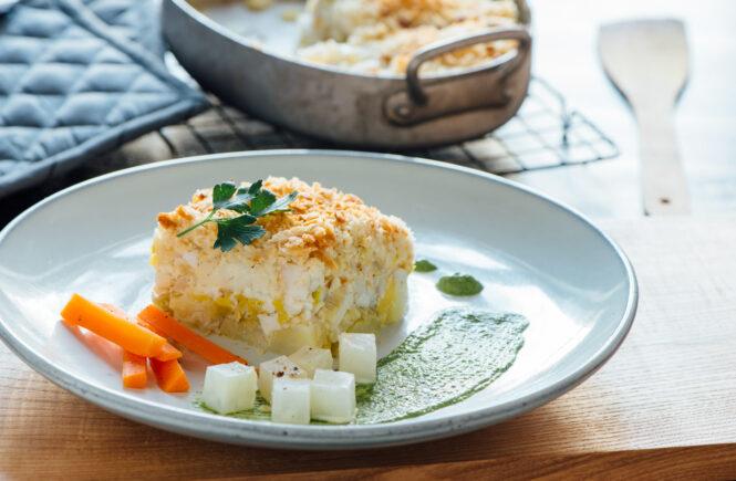 Rezept norwegischer Skrei-Auflauf mit Kohlrabi-Möhren-Gemüse