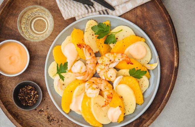 Hagen Grote Rezept zu Orangen-Kartoffelsalat Scampi und Cocktailsauce